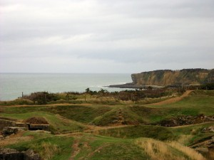 Pointe de Hoc from Utah beach showing bomb craters.