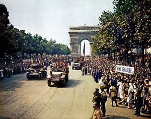 Jubilant crowds on the Champs Elysees