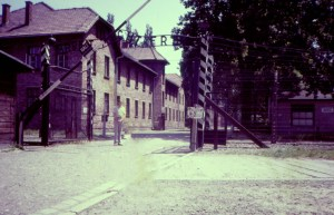 HK at Auschwitz entrance 1983
