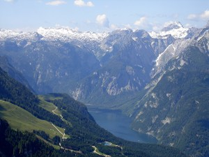 The impressive view from the Kehlstein looking down to the Konigsee lake.