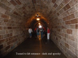 Dark and spooky tunnel leading to elevator/lift