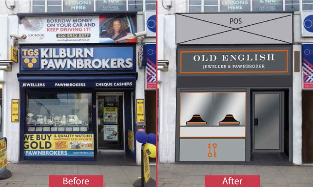Pawnbrokers on Kilburn HIgh Road old and new
