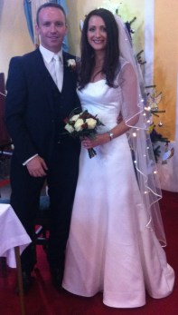 Laura and Gary on their wedding day.