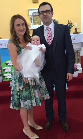 Doireann Charlotte Cleary on her baptism day 23 April 2016