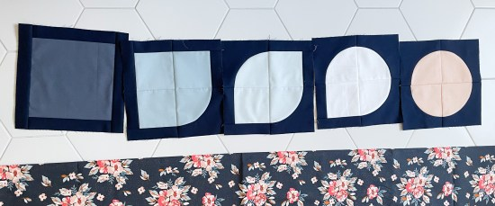 Evolve Quilt Pattern blocks for examples of sewing with curves.