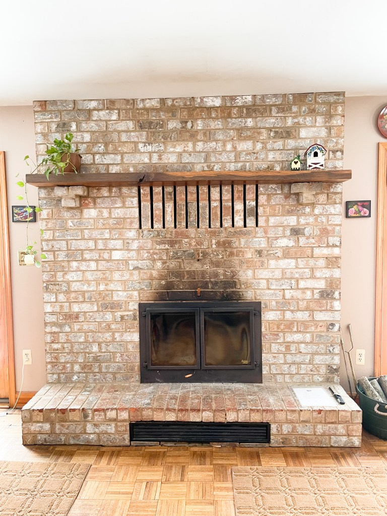 fireplace of quilt retreat home