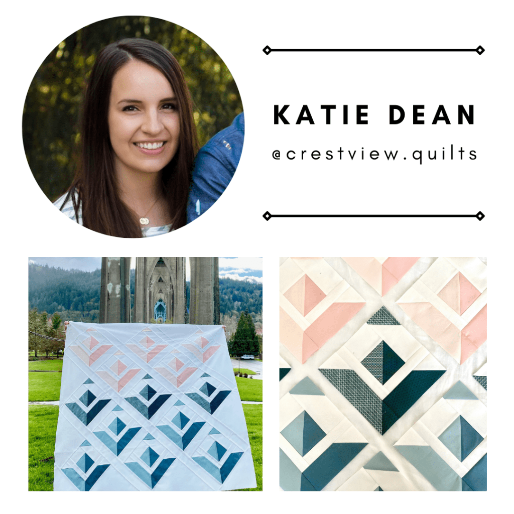 Pattern tester Katie Dean from @crestview.quilts with her Paper Planes Quilt