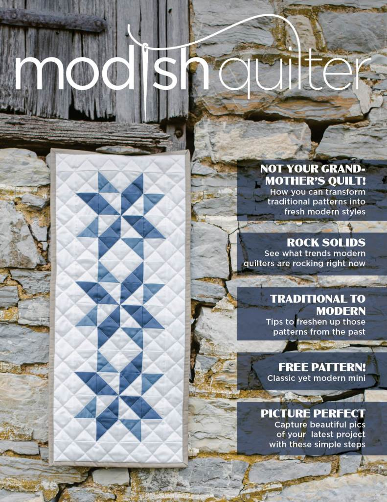 Modish Quilter Magazine cover photo for the Pilot Issue