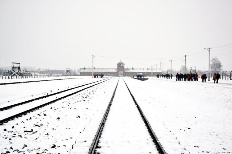 auschwitz-birkenau 27 gennaio: i binari all'interno del campo di sterminio di Birkenau