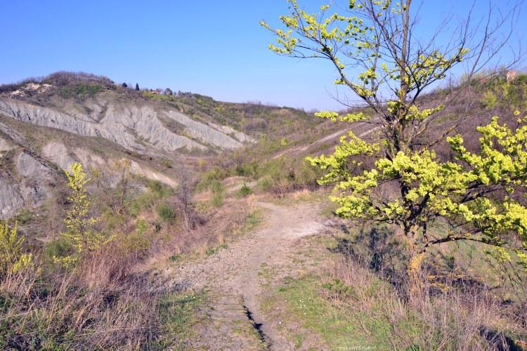 il sentiero dei calanchi dell'abbadessa sul crinale