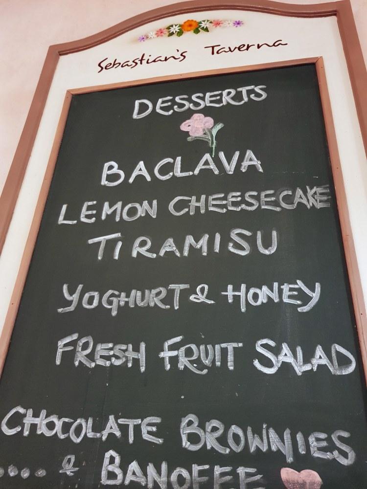 menù dei dolci della taverna sebastian, a corfù