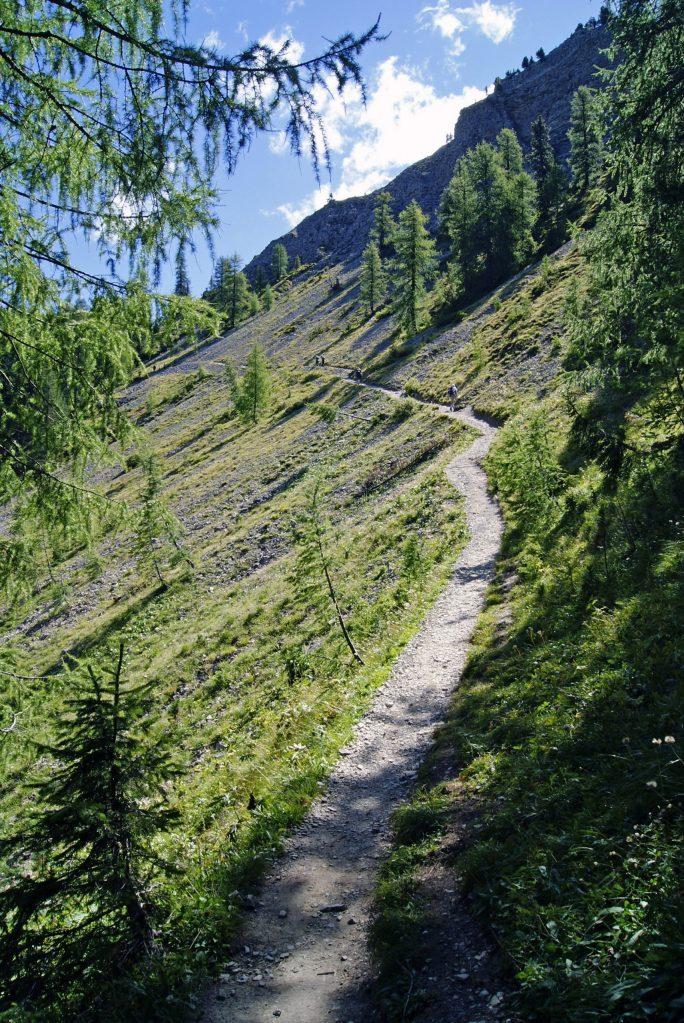 giro ad anello intorno al sass de putia: tratto di sentiero su ghiaione