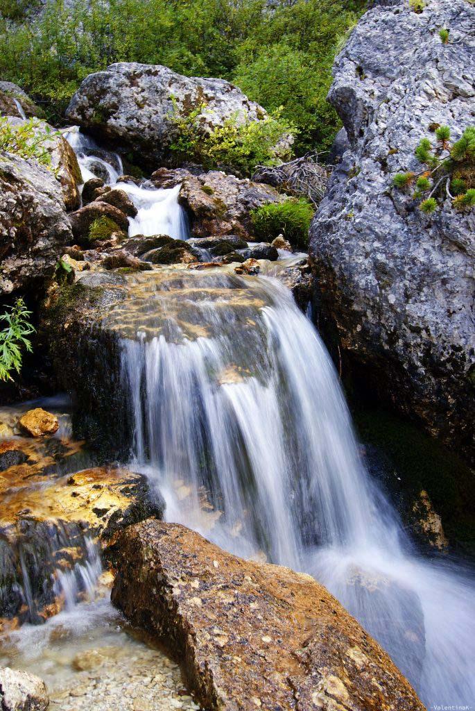tratto finale delle cascate del pisciadù