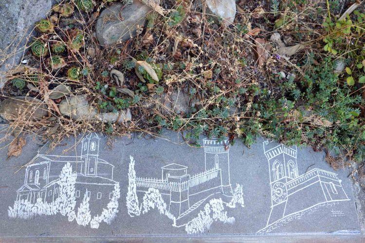 scoprire brisighella: disegno dei tre edifici sui tre colli