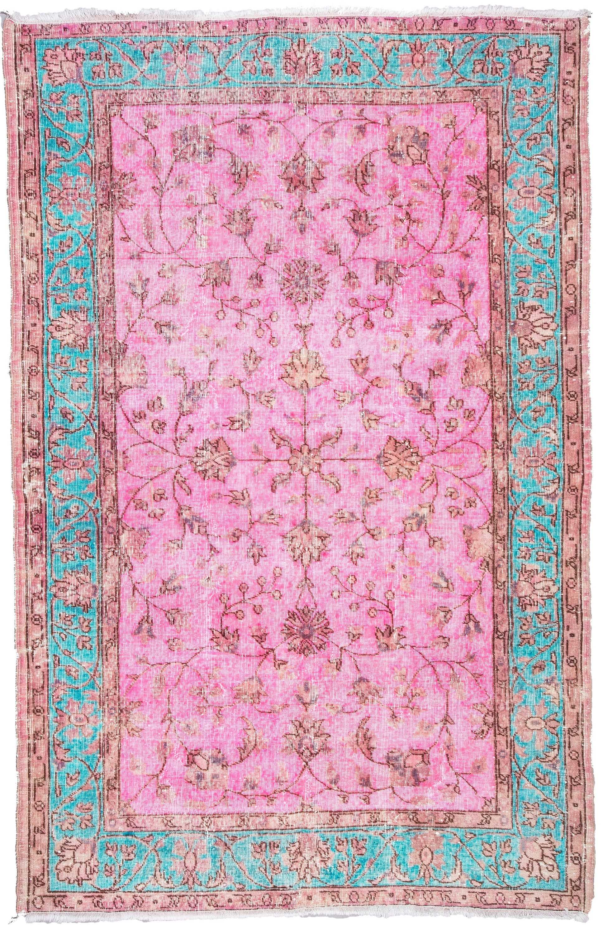 Pink Color Overdyed Turkish Rug  0642