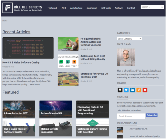 Screenshot of the Kill All Defects landing page, featuring various articles on Software Quality.