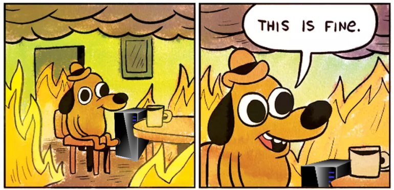 """The """"This is Fine"""" dog in a room full of fire with a server in the corner"""