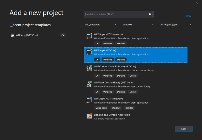 Add a new project window with WPF App (.NET Core) selected.