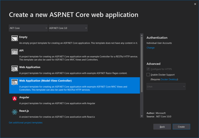 Create a new ASP.NET Core web application dialog with Web Application (Model-View-Controller) selected