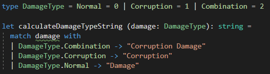 The switch statement implemented in F# with a match statement.