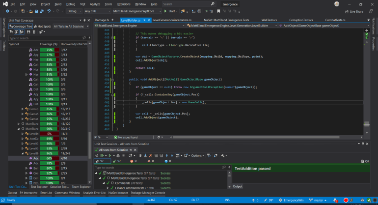 Visual Studio 2019, highlighting Code Coverage