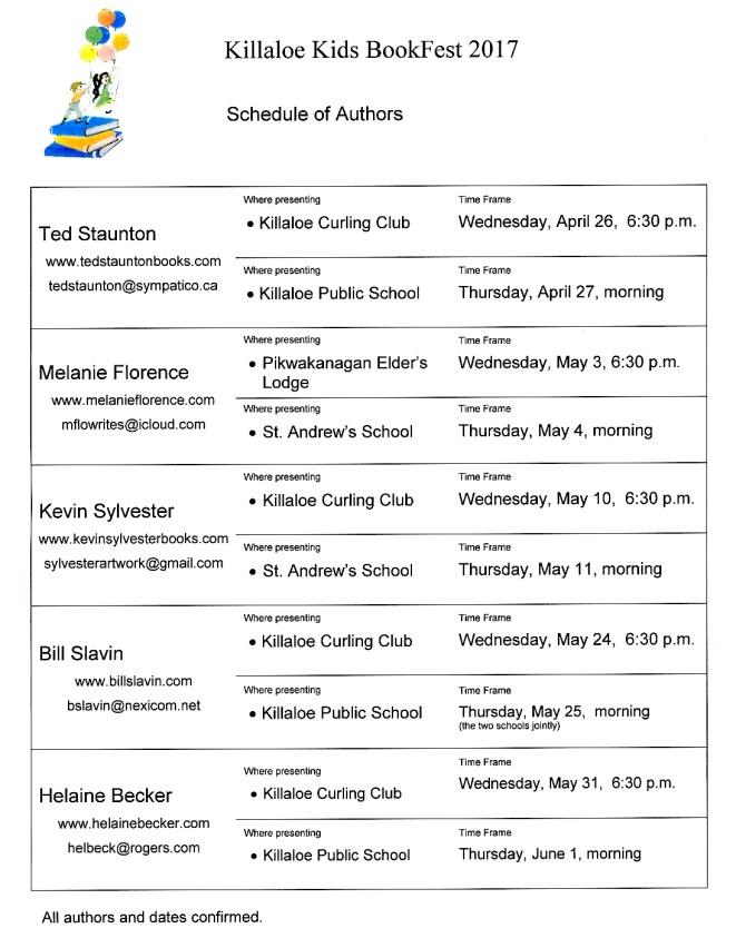 2017 Killaloe Kids Bookfest Schedule