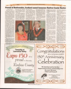 A Journey Through Time - Past, Present and Future. Published by The Eganville Leader, celebrating the 150th anniversary of Renfrew County. Page 18