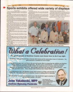 A Journey Through Time - Past, Present and Future. Published by The Eganville Leader, celebrating the 150th anniversary of Renfrew County. Page 36