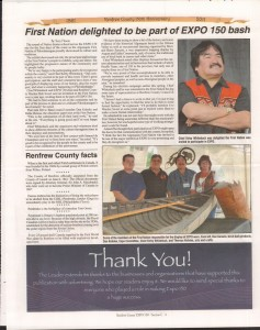 A Journey Through Time - Past, Present and Future. Published by The Eganville Leader, celebrating the 150th anniversary of Renfrew County. Page 47