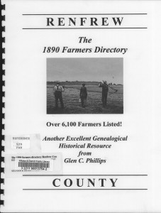 Renfrew County Farmers Directory From 1890. Page 1