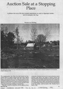 Auction Sale in Bonnechere River, excerpt from Canadian Collector, Vol 16. No. 2. March/April 1981. Page 1