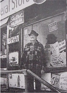 Picture of Edgar Getz outside his General Store in Old Killaloe. Killaloe Millennium Museum Exhibit.