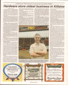 Killaloe Today, published in August of 2008 to commemorate the Town's 100th Birthday. Page 23
