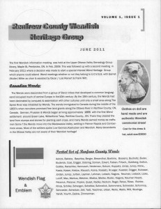 Renfrew County Wendish Heritage Group. Vol. 1. Iss. 1. June 2011