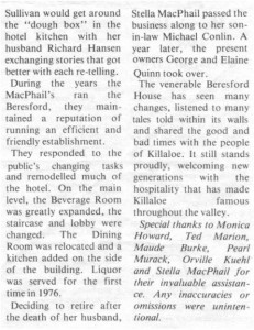 This story about the Beresford Hotel was written by Corinne Higgins and published in Barry's Bay This Week April 1st, 1987. This is part 8 of 9. Betty Mullin Collection.