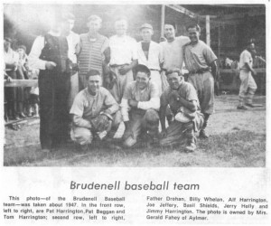 Photo of Brudenell Baseball team about 1947.