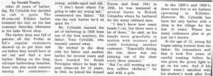 Story and photos about the retirement of local barber Ed Cybulski from the Eganville Leader 1976. Pearl Murack Collection. This is part 1.