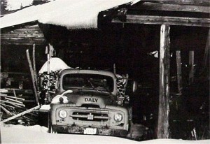 Many of the area farms also operated as small sawmills. This photo shows an old truck loaded with slabs of wood. Photo by Tony Cowan. Killaloe Millennium Museum Exhibit.