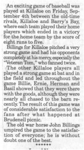 This story was taken from the Eganville Leader's 75 Years Ago section detailing a baseball game between Killaloe and Barry's Bay circa 1925.