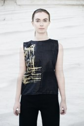 Beetle finished black linen crop top with hand printed gold finish
