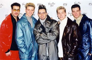 1999 - *NSYNC donning shiny oversized jumpsuits to the American Music Awards