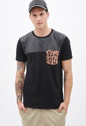 Forever 21 €10.45 - Faux Leather & Cheetah Pocket Tee http://bit.ly/142ivde