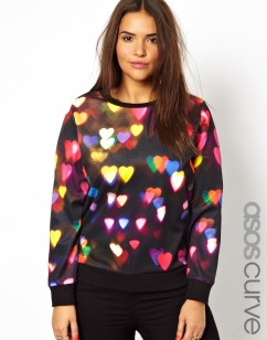 ASOS CURVE €47.95 - Sweat In Neon Heart Print http://tinyurl.com/oa52jf9