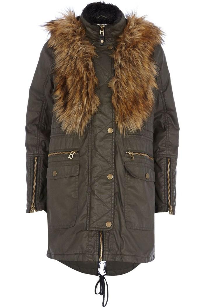 River Island €155 - Khaki Waxed Cotton Faux Fur Trim Parka http://bit.ly/1Efcd7a