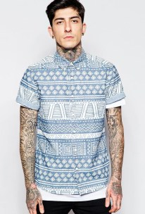 ASOS €35.55 - Denim Shirt In Aztec Print http://bit.ly/1iM0DL0