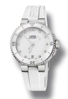 Oris Diving White €1,542/£1,280 - http://www.thewatchgallery.com/shop/oris-diver-aquis-steel-date-watch.html