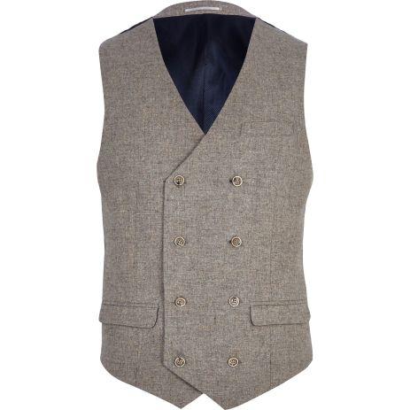 Light Brown Double Breasted Waistcoat €65 - http://eu.riverisland.com/men/suits/waistcoats/Light-brown-double-breasted-waistcoat-274829