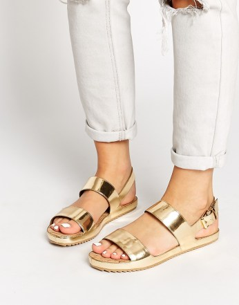 ALDO €67.57 - Sigode Leather Gold Double Strap Flat Sandals http://bit.ly/1BzAPtB