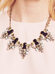 Dahlia €44.95/£32 - Multi-Stones Pastel Collar Necklace with Heart Chain http://bit.ly/1x6rvMd