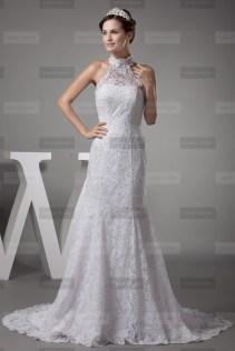 Fany Crown €449 - Fine High neck Long White Wedding Dress http://bit.ly/1ErK9LQ